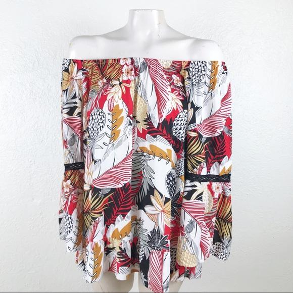 42acd974bb Fig   Flower tropical on off shoulder blouse. B011